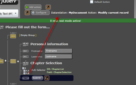 Assign the ButtonAction from the DataRelation to the submit button.